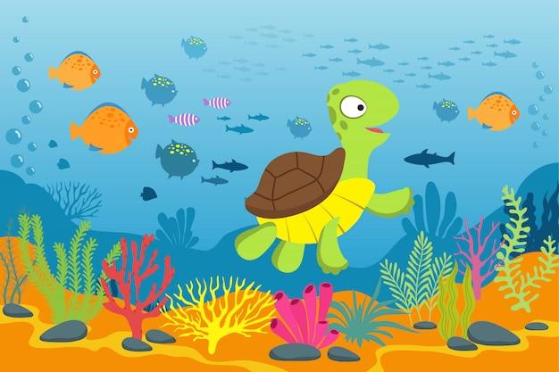 Żółw W Podwodnej Scenie. żółw, Wodorosty I Ryby W Dnie Oceanu. Premium Wektorów