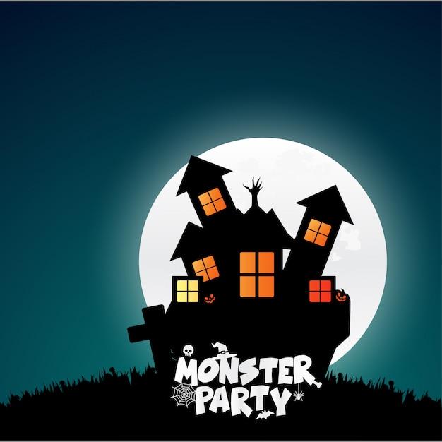 Zombie party typografia wektor wzór Darmowych Wektorów