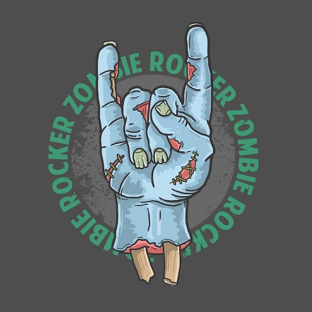 Zombie rocker ręcznie halloween ilustracji wektorowych Premium Wektorów