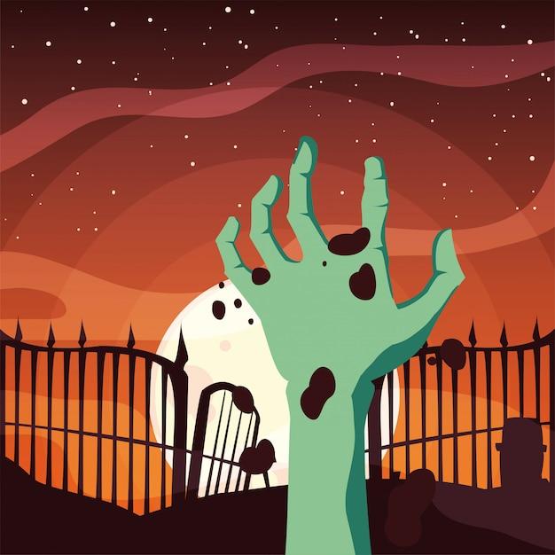Zombie strony szczęśliwy halloween uroczystości Premium Wektorów