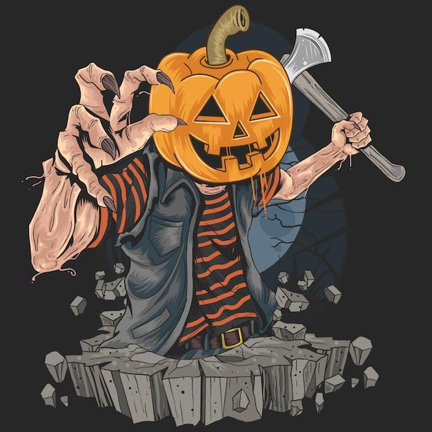 Zombie z killerem z głowicą pompy w halloween party artwork Premium Wektorów