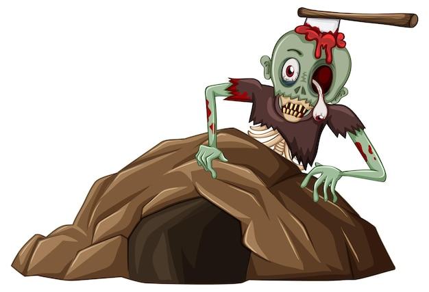 Zombie Z Małą Jaskinią Na Białym Tle Darmowych Wektorów