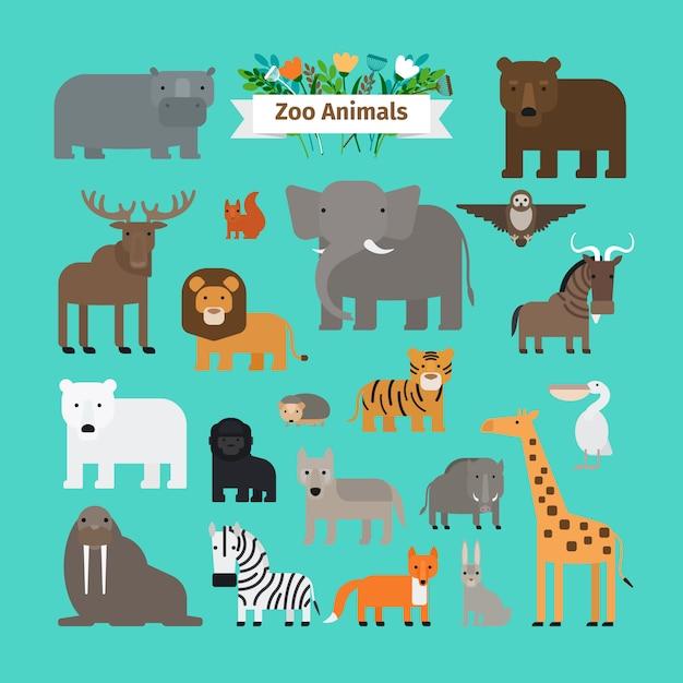 Zoo zwierząt płaska konstrukcja wektorowe ikony Premium Wektorów