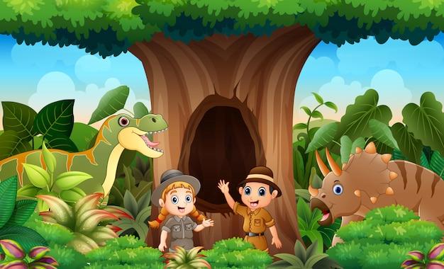 Zookeepers I Zwierzęta W Dżungli Premium Wektorów