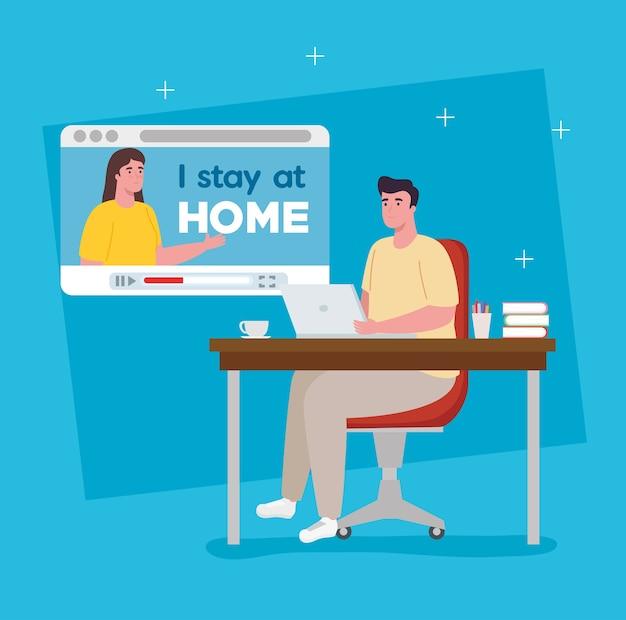 Zostaję W Domu, łączę Się W Wideokonferencję Dla Telepracy. Premium Wektorów