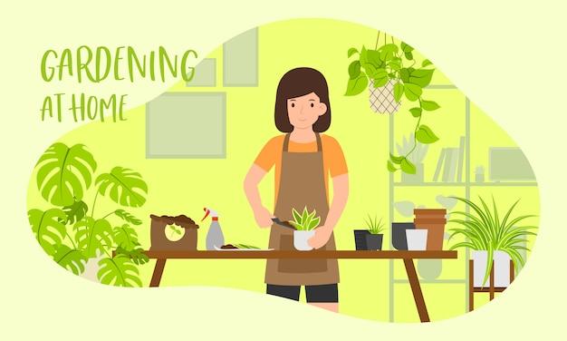 Zostań W Domu I Ogrodnictwo W Domu Ilustracja Koncepcja, Kobiece Sadzenie W Ogrodzie Domu Premium Wektorów