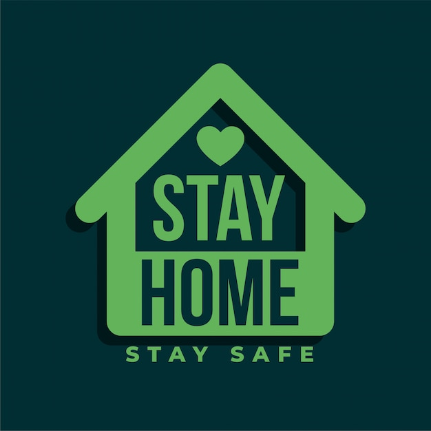 Zostań W Domu I Zachowaj Bezpieczeństwo Projekt Zielonego Symbolu Darmowych Wektorów
