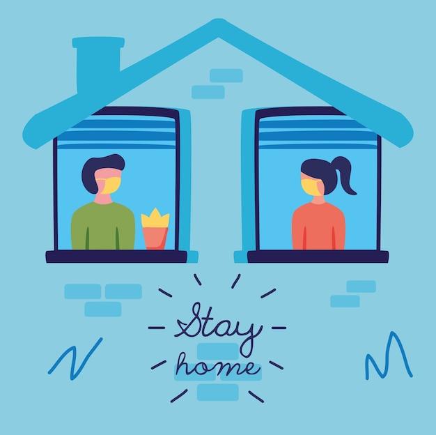 Zostań W Domu Kampania Z Ludźmi W Oknach Budowania Ilustracji Wektorowych Premium Wektorów
