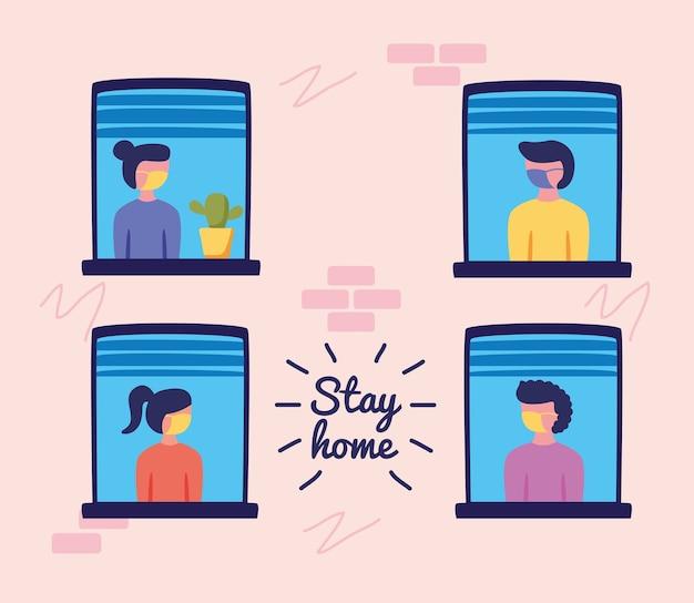 Zostań W Domu Kampania Z Ludźmi W Projektowaniu Ilustracji Wektorowych Systemu Windows Premium Wektorów