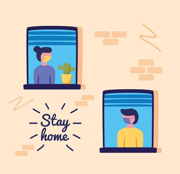 Zostań W Domu Kampania Z Osobami W Oknach Budowania Ilustracji Wektorowych Premium Wektorów