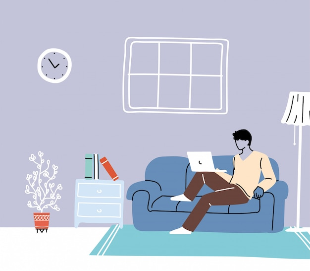 Zostań W Domu, Młoda Kobieta Pracuje Na Komputerze Przenośnym W Domu Premium Wektorów