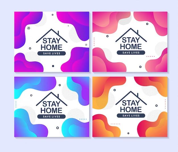 Zostań W Domu, Ratuj życie. Koncepcja Projektowania Mediów Społecznościowych Premium Wektorów