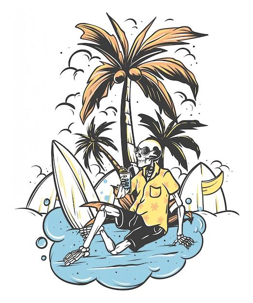 Zrelaksowana Szkieletowa Czaszka Pod Palmą Z Deską Surfingową Premium Wektorów