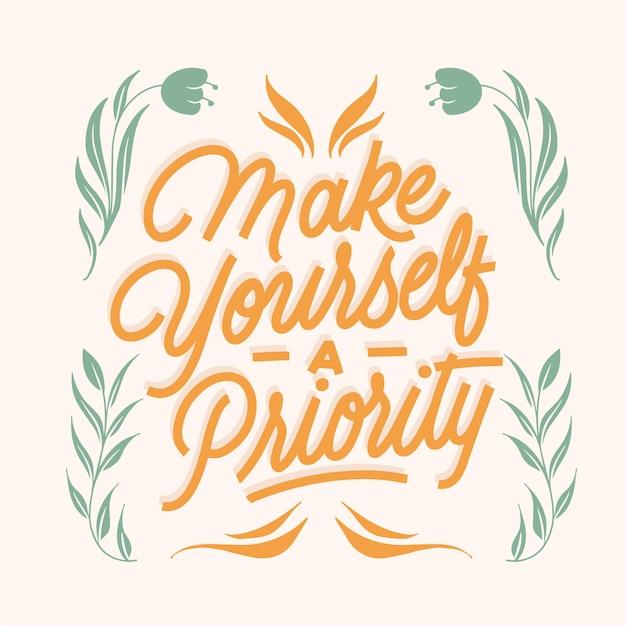 Zrób Sobie Priorytetowy Napis Cytat Darmowych Wektorów
