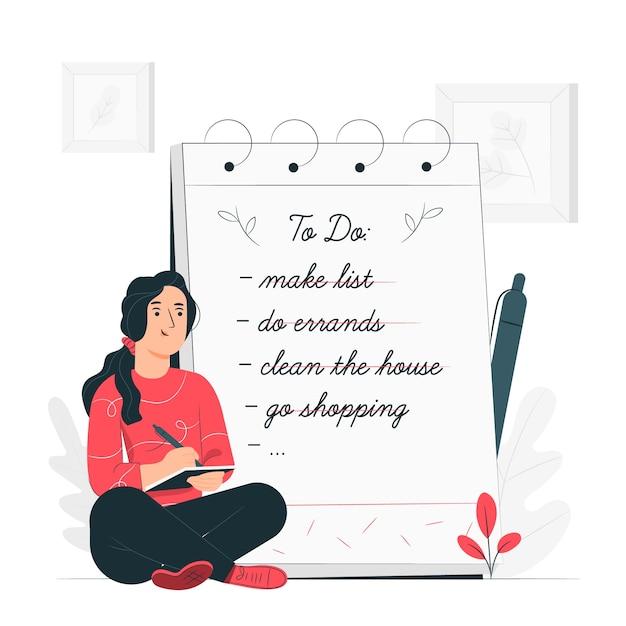 Zrobić Listę Ilustracja Koncepcja Darmowych Wektorów
