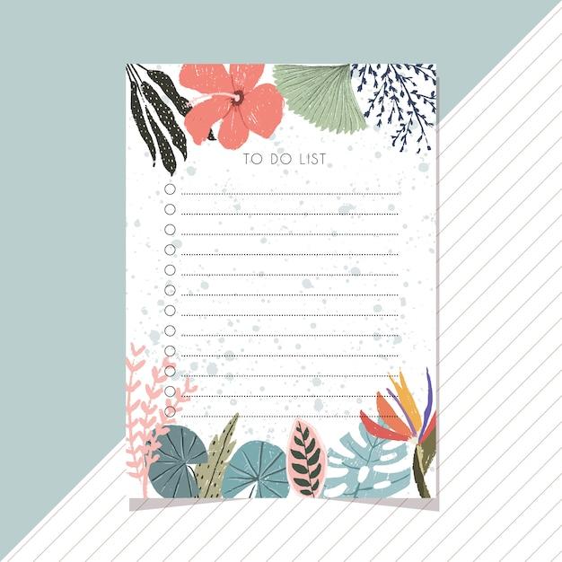 Zrobić listę z tropikalnym letnim kwiatem Premium Wektorów