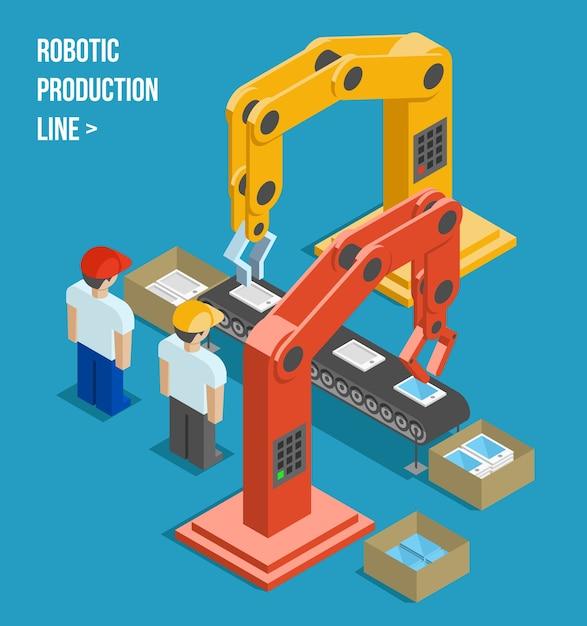 Zrobotyzowana Linia Produkcyjna. Produkcja I Maszyny, Automatyka I Robotyka I Przemysł. Ilustracji Wektorowych Darmowych Wektorów