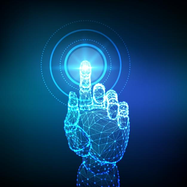 Zrobotyzowana Niska Wielokąta Ręka Dotykająca Interfejsu Cyfrowego. Premium Wektorów