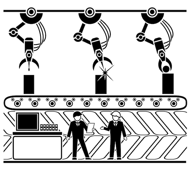 Zrobotyzowany Przenośnik Produkcyjny W Stylu Liniowym Darmowych Wektorów