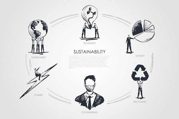 Zrównoważony Rozwój, Gospodarka, Społeczeństwo, Recykling, Emisja Co2, Infografika Dotycząca środowiska Premium Wektorów