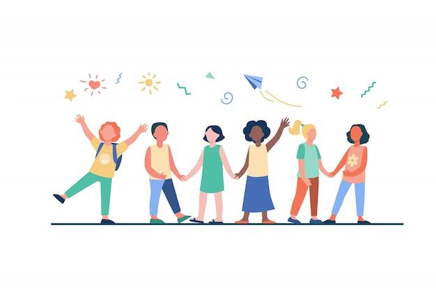 Zróżnicowana Grupa Dzieci W Przedszkolu Darmowych Wektorów