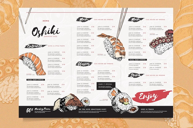 Zróżnicowany Szablon Menu Restauracji Darmowych Wektorów