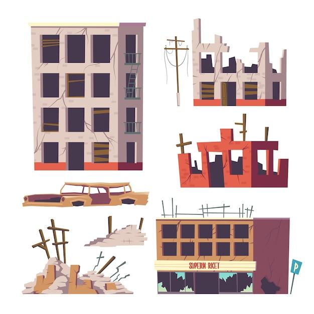 Zrujnowane opuszczone domy i zestaw samochodowy, stare budynki Darmowych Wektorów