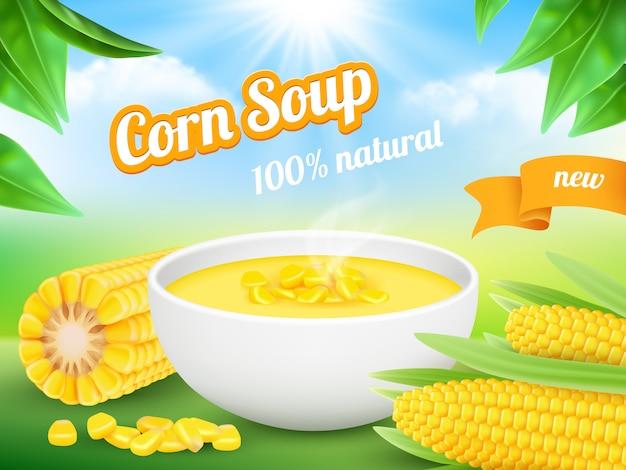 Zupa Kukurydziana. Reklamowy Plakat Przekąski Produktu Kukurydzy Słodycze Szablon Premium Wektorów