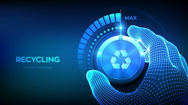 Zwiększenie Poziomu Recyklingu. Recykling Eco Koncepcja. Ręcznie Obracając Pokrętło Testu Recyklingu Do Maksymalnej Pozycji. Premium Wektorów