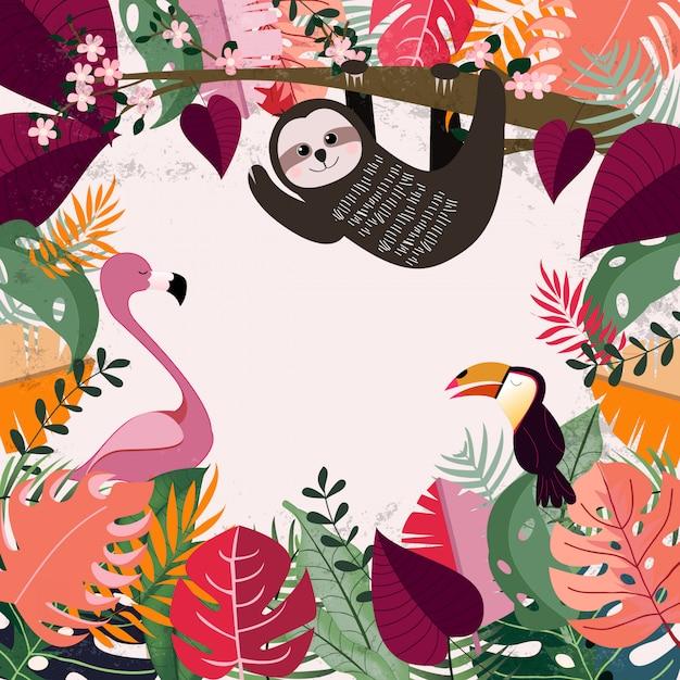 Zwierzę w różowej tropikalnej dżungli Premium Wektorów
