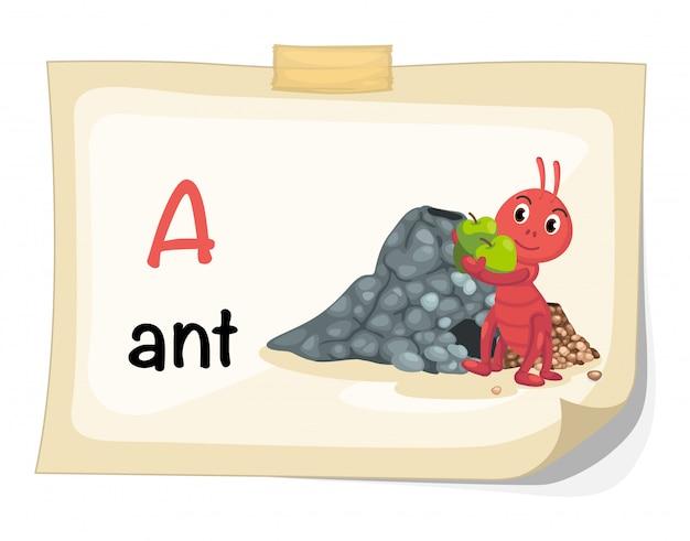 Zwierzęcy abecadło list a dla mrówka ilustraci wektoru Premium Wektorów