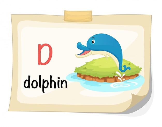 Zwierzęcy abecadło list d dla delfinu ilustraci wektoru Premium Wektorów