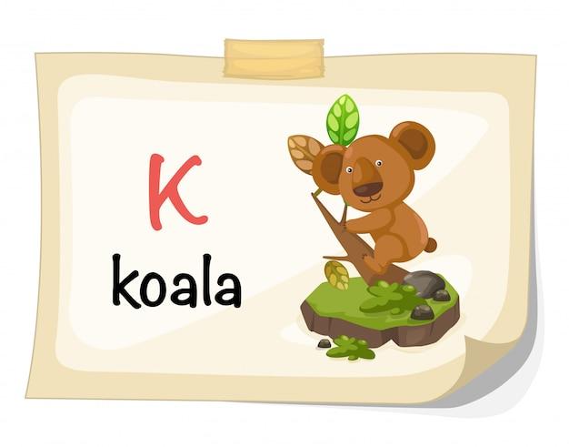 Zwierzęcy abecadło list k dla koala ilustraci wektoru Premium Wektorów