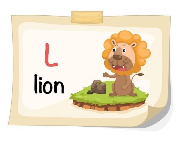 Zwierzęcy abecadło list l dla lwa ilustraci wektoru Premium Wektorów
