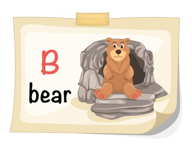 Zwierzęcy abecadło listu b dla niedźwiadkowego ilustracyjnego wektoru Premium Wektorów