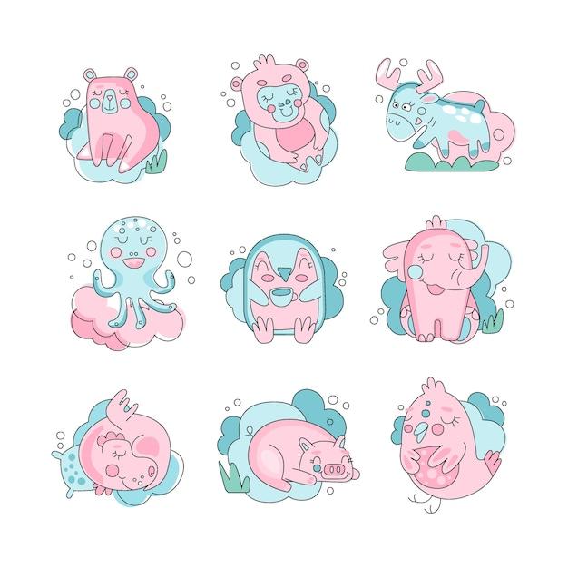 Zwierzęta Dla Dzieci Cute Zabawne Kreskówki Spanie Zestaw, Koncepcja Słodkich Snów Ilustracja Na Białym Tle Premium Wektorów