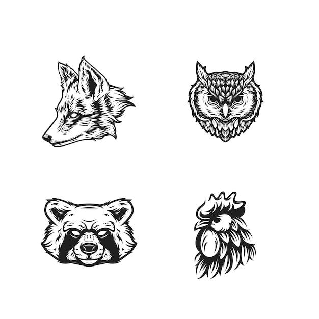 Zwierzęta Głowa Czarno-biały Premium Wektorów