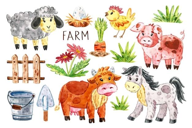 Zwierzęta Gospodarskie Clipart, Zestaw Elementów. Krowa, Koń, świnia, Owca, Kurczak, Gniazdo, Jajko, Drewniany Płot Dla Bydła, Marchew, Trawa, Kwiaty, Wiadro, łopata. Premium Wektorów