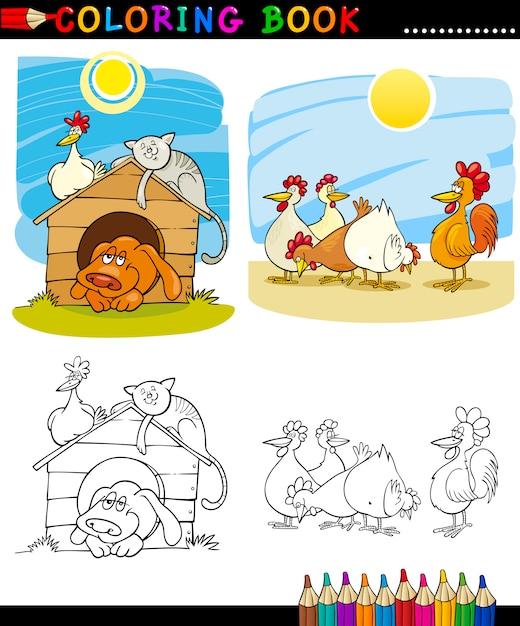 Zwierzęta Gospodarskie I Towarzyszące Do Barwienia Premium Wektorów