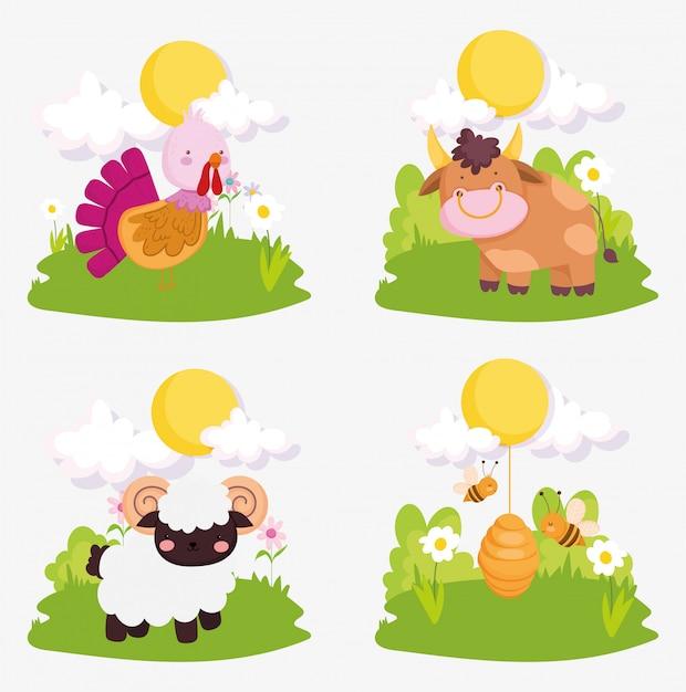 Zwierzęta gospodarskie ładny indyk krowa koza pszczoły niebo słońce chmury Premium Wektorów