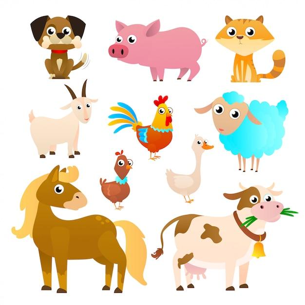 Zwierzęta Gospodarskie W Stylu Płaski Na Białym Tle Premium Wektorów