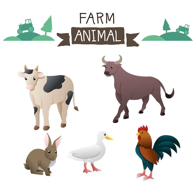 Zwierzęta gospodarskie wektor zestaw Premium Wektorów