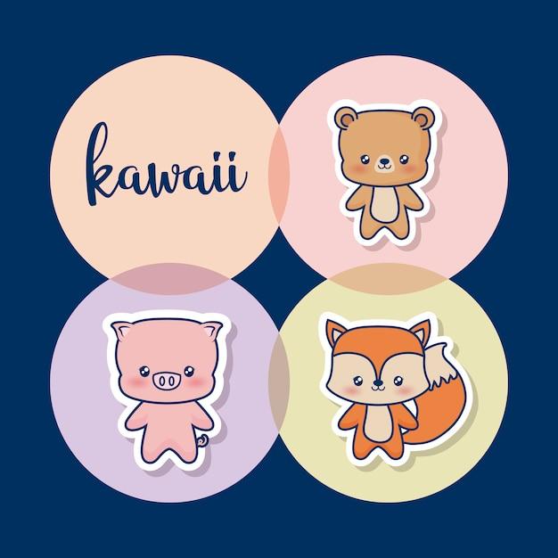 Zwierzęta Kawaii Darmowych Wektorów