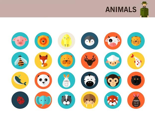Zwierzęta Koncepcja Płaskie Ikony. Premium Wektorów
