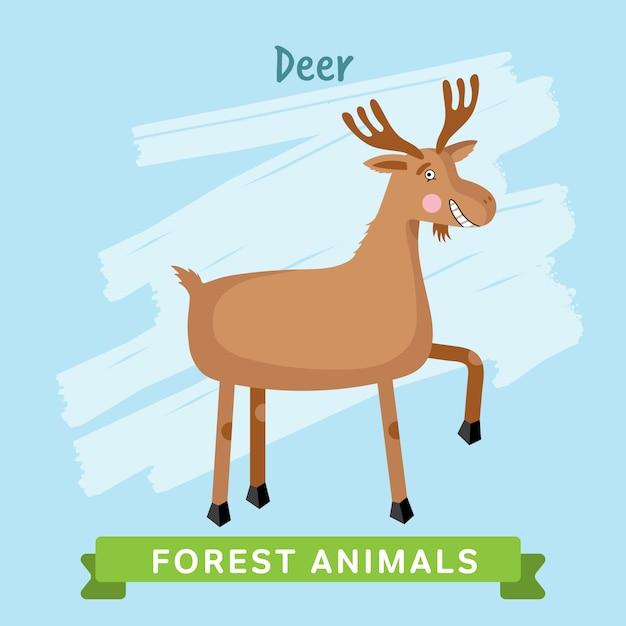 Zwierzęta Leśne Jelenie. Premium Wektorów