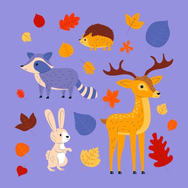Zwierzęta Leśne Jesienią Premium Wektorów