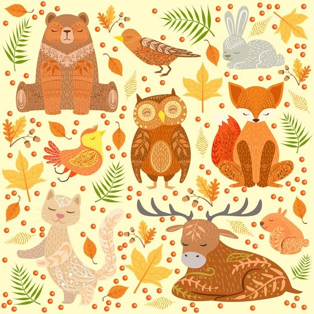 Zwierzęta Leśne Pokryte Ozdobnymi Wzorami Ilustracji Premium Wektorów