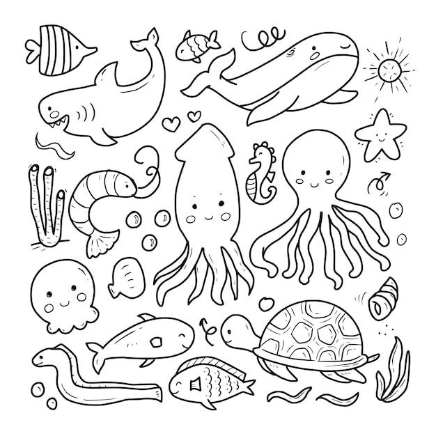 Zwierzęta Morskie Doodle Rysunek Kreskówka Premium Wektorów