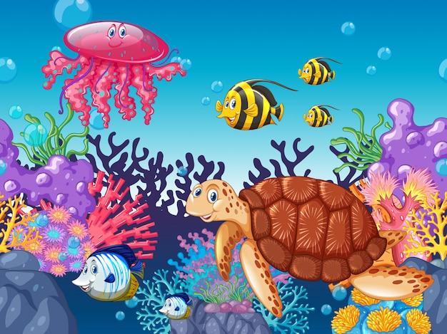 Zwierzęta Morskie Pływające Pod Oceanem Premium Wektorów