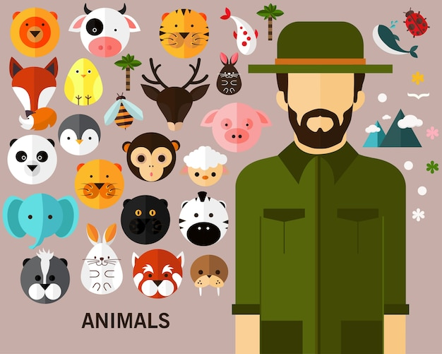Zwierzęta Pojęcie Tła. Premium Wektorów